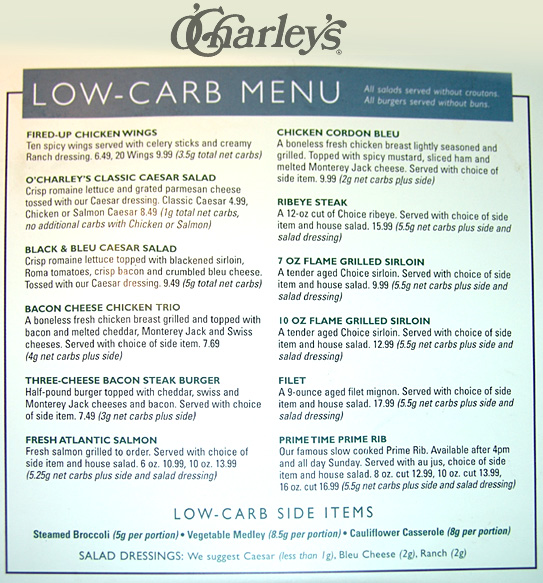 Low Carb Luxury Restaurant Reviews O Charley S